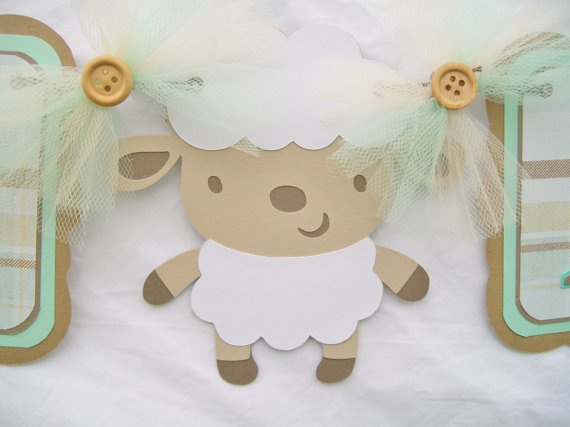 Baby shower banner, lamb, sheep, its a boy, mint green, light green, browns - READY TO SHIP