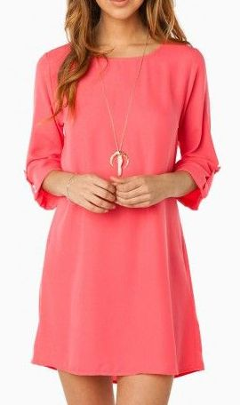 """Coffee Date Shift Dress in Pink  I'm getting to the point where I think I'd just wear this with jeans.  All these dresses are too short by themselves ... but are cute """"tunics."""""""