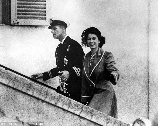 Happy together: The Queen and Prince Philip are clearly enjoying married life as they step out in Malta in 1949