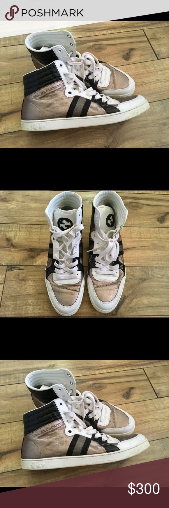 Gucci USA Exclusive Metallic Leather High Top 10 Gucci USA Exclusive Metallic/Patten Leather High Top. Size 10 G. Fits 10.5 and 11. Pre Owned. No box. Crease on the front and signs of bottom wear. No trades or low ball offers. Gucci Shoes Sneakers