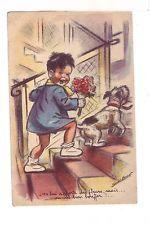 "Carte postale ancienne G. Bouret ""On apporte des fleurs, on va bien bouffer.!"""