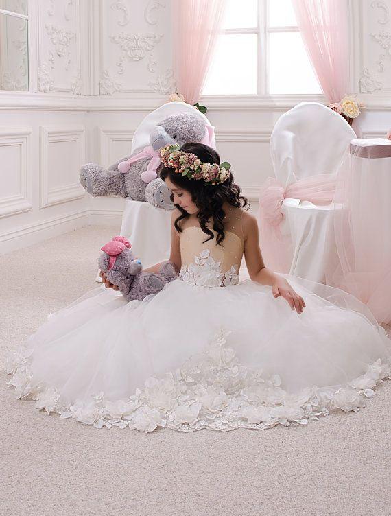 Marfil y Beige flor vestido de niña - vacaciones fiesta cumpleaños de Dama de honor marfil de niña de las flores de la boda de tul Beige