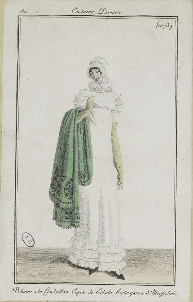 """Costume Parisien (1073), 1810. """"Velours à la Cendrillon. Capote de Perkale. Robe garnie de Mousseline."""""""