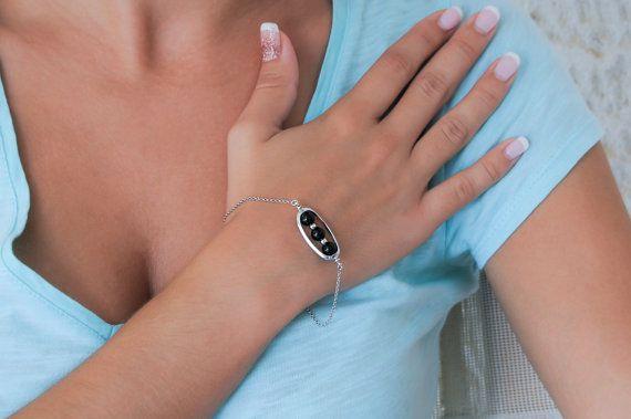 Onyx bracelet Silver boho bracelet 925 sterling by Wavejewels