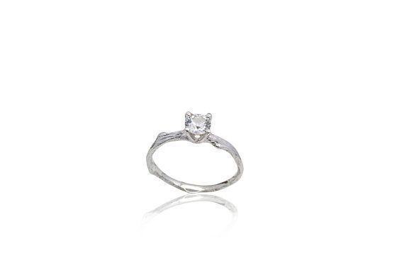 White Sapphire twig engagement ring by efratdeutsch on Etsy, $550.37