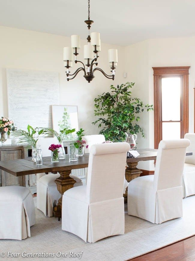 Arhaus Dining Table Slipcovered Parson Chairs Lighting Updates