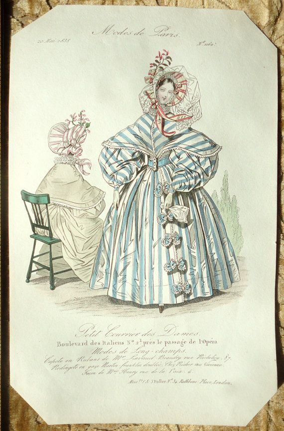 Hand-Colored Victorian Fashion Plate - Engraving of Women's Fashions 1835