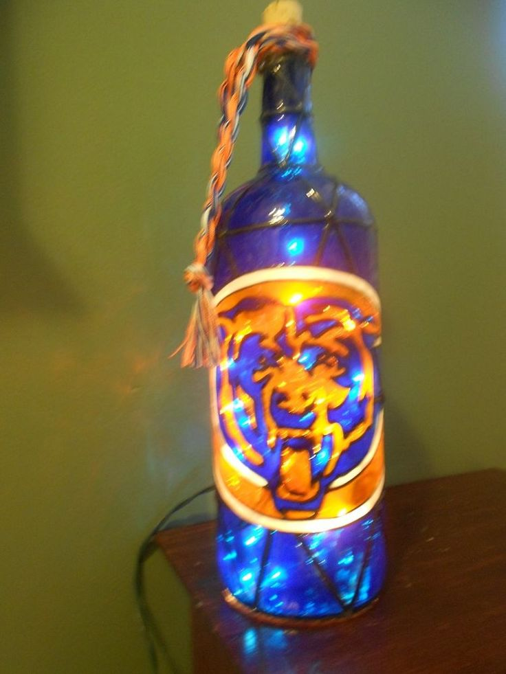 Hand Painted Lighted Wine Bottle Chicago Bears