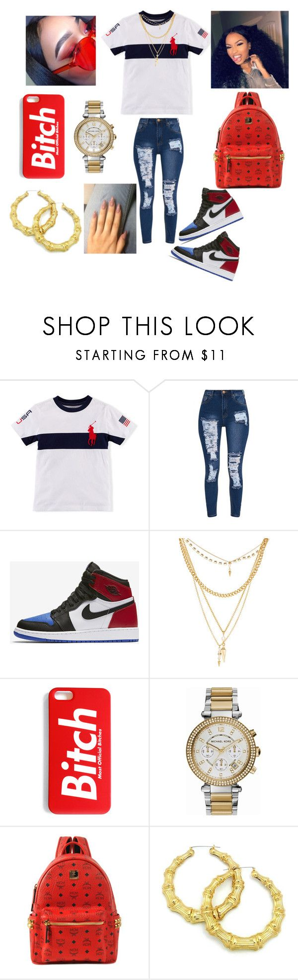 """Untitled #109"" by analanae ❤ liked on Polyvore featuring NIKE, Ettika, Michael Kors and MCM"