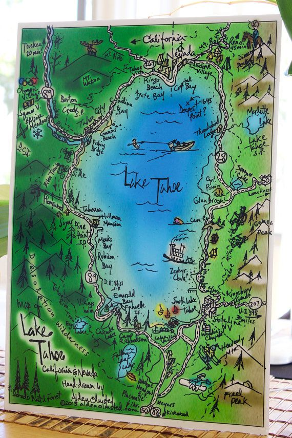 San Francisco Road Map Pdf%0A Awesome poster print handdrawn map of Lake Tahoe  California  Measures    x
