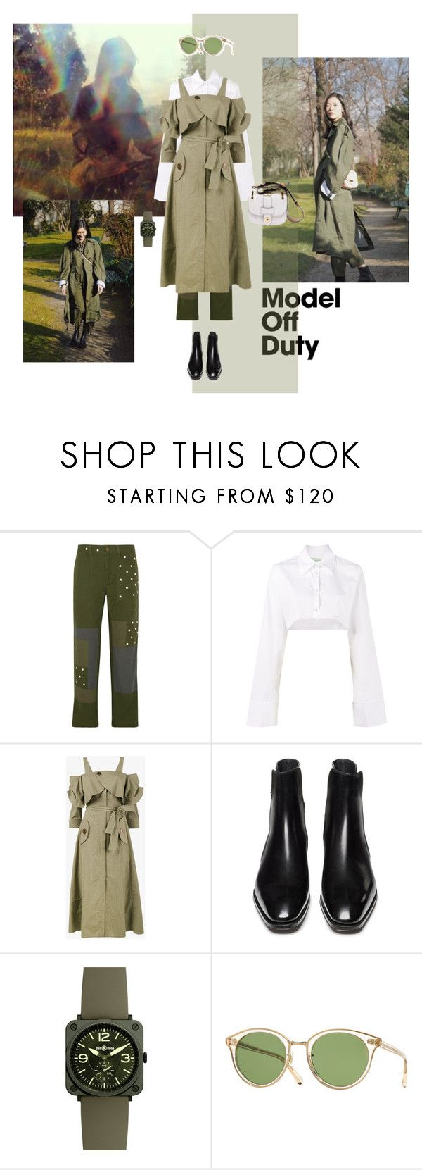 """""""into the wild"""" by ladyarchitect ❤ liked on Polyvore featuring J.Crew, Off-White, Kitx, Bell & Ross, Oliver Peoples, army, ladyarchitect and modleoffduty"""