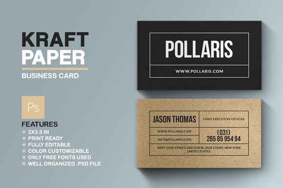 Kraft Paper Business Card • Available here → https://creativemarket.com/Marvels/691068-Kraft-Paper-Business-Card?u=pxcr