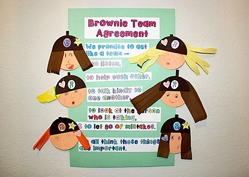 Girl Scout Brownies - Brownie Quest Journey - Ideas for earning the Connect Key - Creative option for Brownie Team Agreement, concentric circle bookmarks and more!