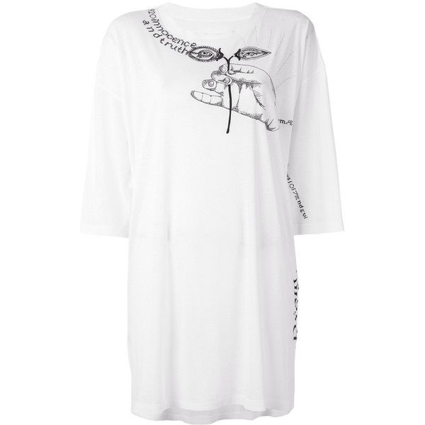 Maison Margiela embroidered oversize T-shirt featuring polyvore women's fashion clothing tops t-shirts white oversized t shirt long white t shirt embroidered t shirts long tee embroidery t shirts