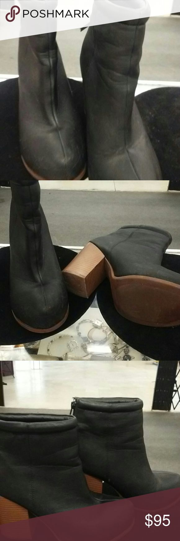 Ladies leather boots Black leather ankle boots size 8.5 Shoes Heeled Boots