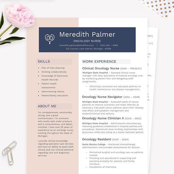 Nurse Resume CV Template Pkg. by JannaLynnCreative on @creativemarket