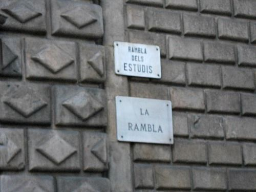 The imposing wall of the Església de Betlem certainly dominates the Ramblas dels Estudis for me.
