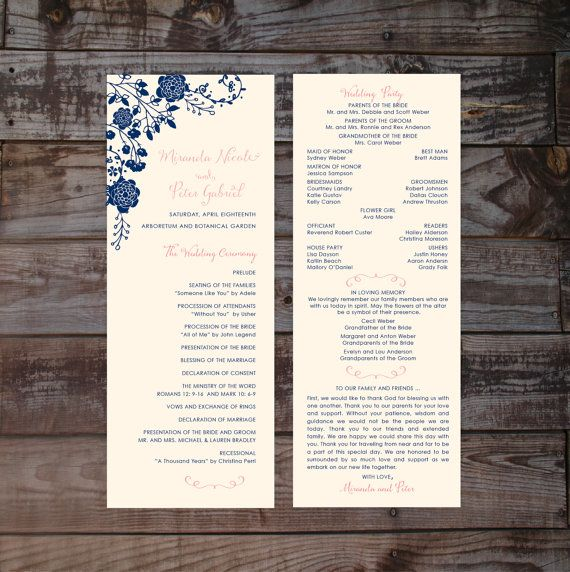 Printable wedding programs, floral wedding programs, navy wedding program…