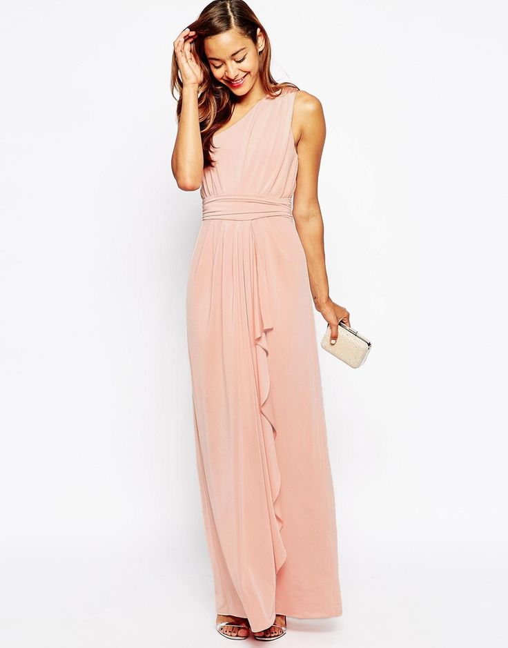 ASOS WEDDING One Shoulder Sexy Slinky Maxi Dress