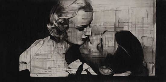 'Embrace' 2011, Charcoal on paper, 36 x 72 inches, 91 x 183 cm