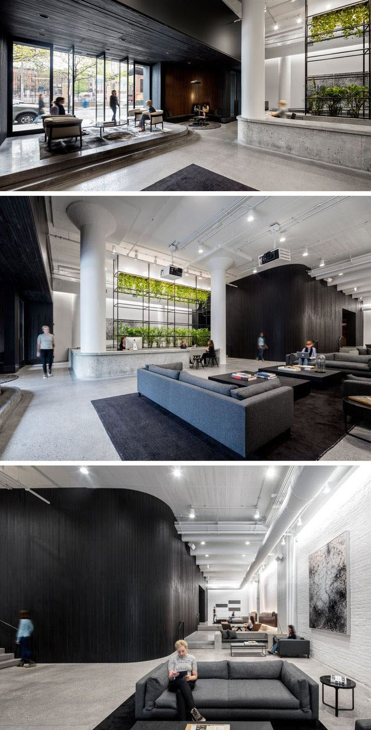 This office lobby is home to a concrete reception desk with plant feature, and large double-height ceilings. There's plenty of seating and the lobby can also double as an event space.