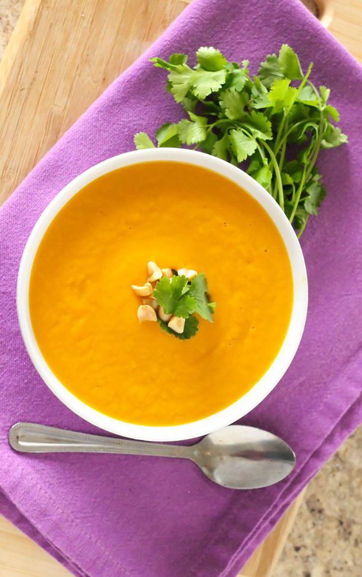 Thai Carrot and Sweet Potato Soup #healthy #soup #recipe