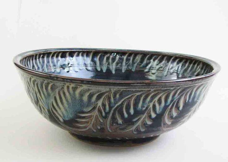 "Large Flame Fish bowl. 13"" diameter, sgraffitto jun glaze"