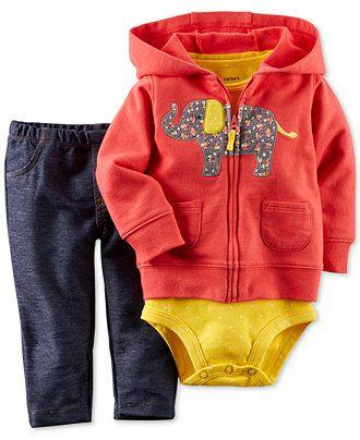 Carter's Baby Girls' 3-Piece Elephant Hooded Sweater, Bodysuit & Pants Set - Kids Baby Girl (0-24 months) - Macy's
