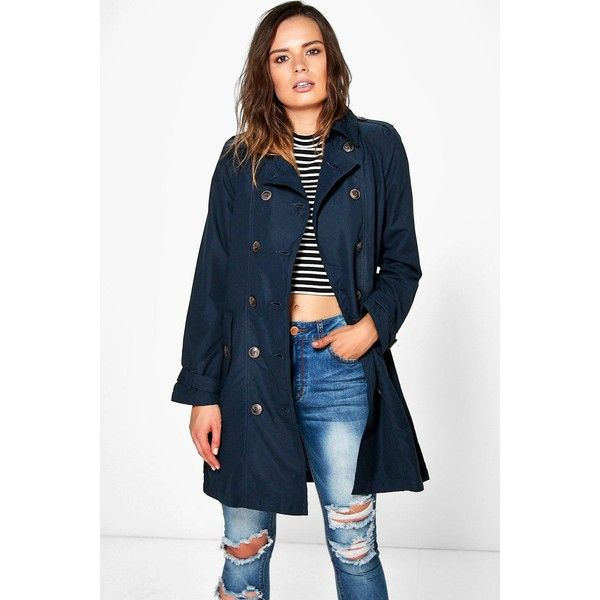 Boohoo Amelie Belted Mac ($32) ❤ liked on Polyvore featuring outerwear, coats, navy, blue raincoat, longline coat, navy raincoat, navy blue raincoat and navy coat