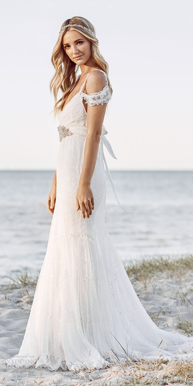 anna campbell 2017 bridal off the shoulder lace strap sweetheart neckline full embroidered elega ...