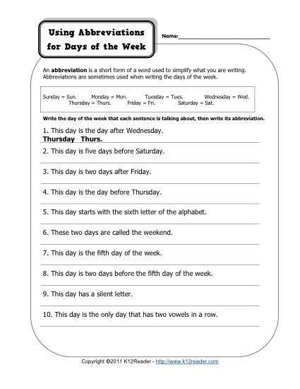 Abbreviations worksheets for 1st grade