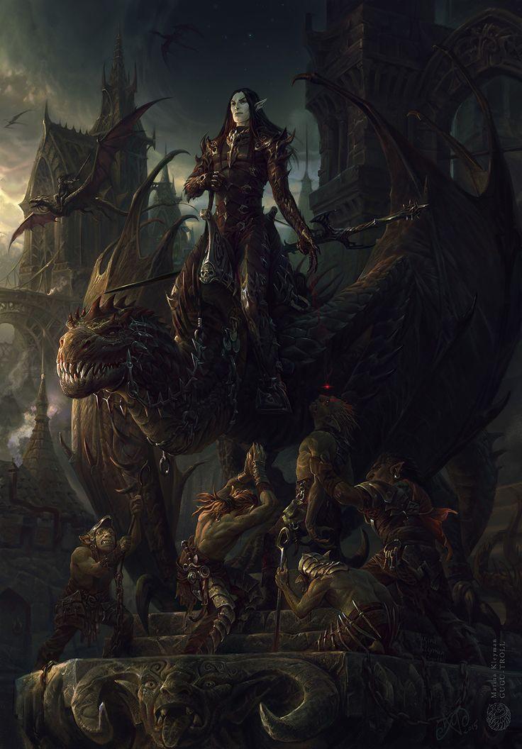 Dark elf warrior, Marina Kleyman on ArtStation at https://www.artstation.com/artwork/aED8L