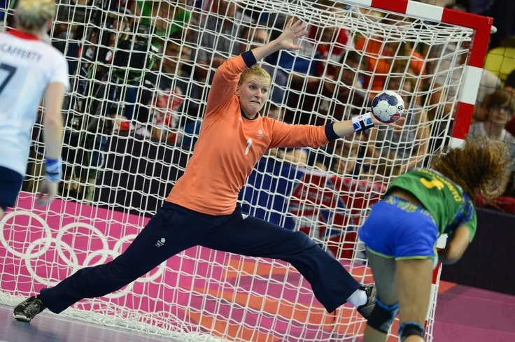 Britain's goalkeeper Sarah Hargreaves makes a save during the women's preliminaries Group B handball match Great Britain vs Brazil for the London 2012 Olympics Games on August 1, 2012 at the Copper Box hall in London.