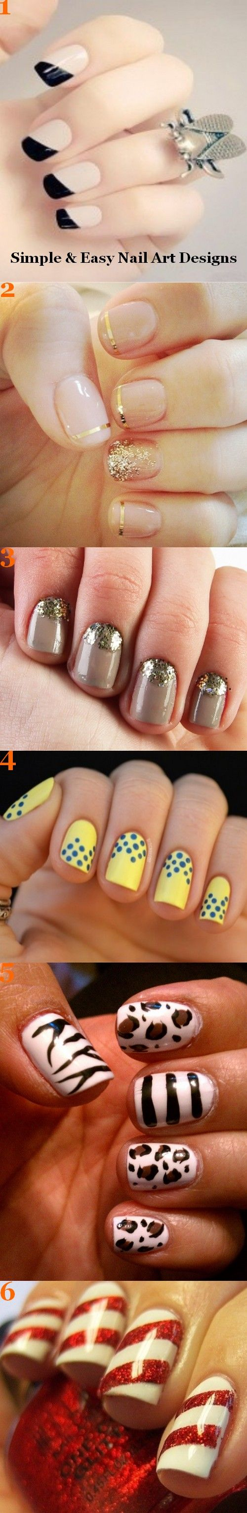 Simple and easy nail art designs.