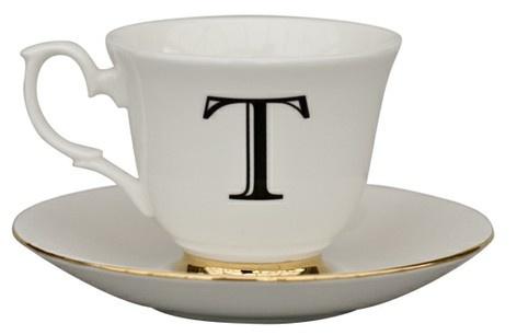 ABC tea cup & saucer, T