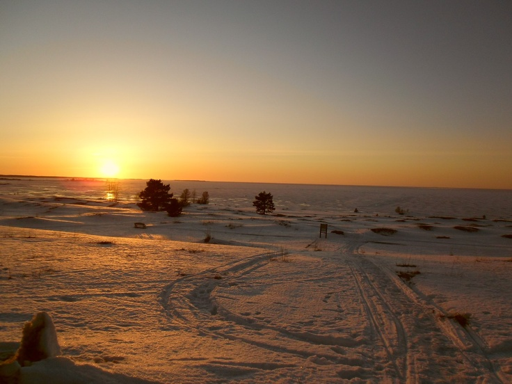 winter days can be golden sometimes. frozen sea view in Kalajoki, Finland.