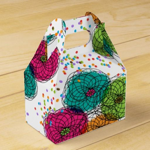 Teal Pink Green and Orange Whimsical Flowers Wedding Favor Boxes