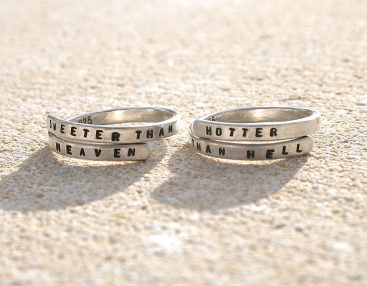 Two Florence and the Machine SIlver Lyric rings. 'Sweeter than heaven' & 'Hotter than hell' Sterling Silver 925 -Adjustable BEST FRIENDS by BonnyandRead on Etsy https://www.etsy.com/listing/258469004/two-florence-and-the-machine-silver