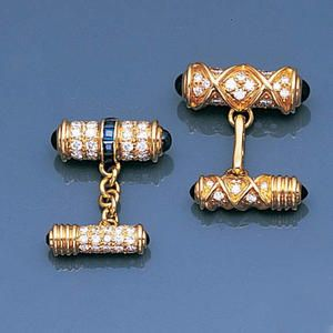 : A pair of sapphire and diamond cufflinks,Cartier