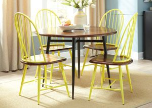Shanilee Round Dining Table w/ 4 Yellow Side Chairs, /category/dining-room/shanilee-round-dining-table-w-4-yellow-side-chairs-1.html