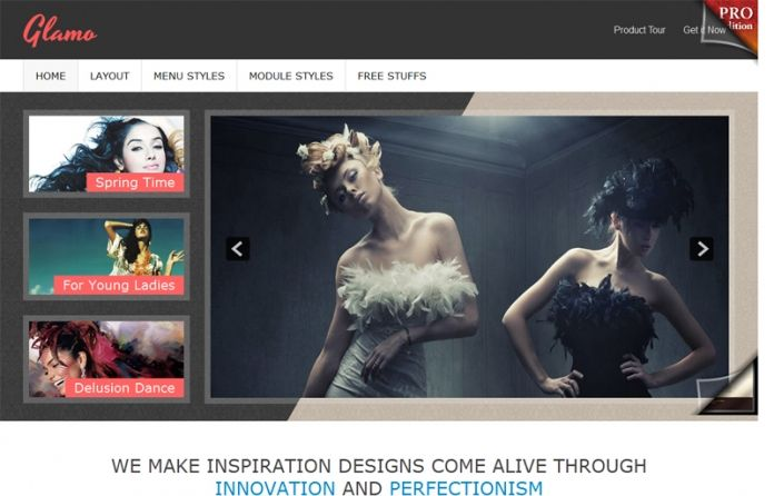JSN Glamo - #free Joomla template focused on stylish,feminine & #modern design. Clean layout. For #fashion websites.