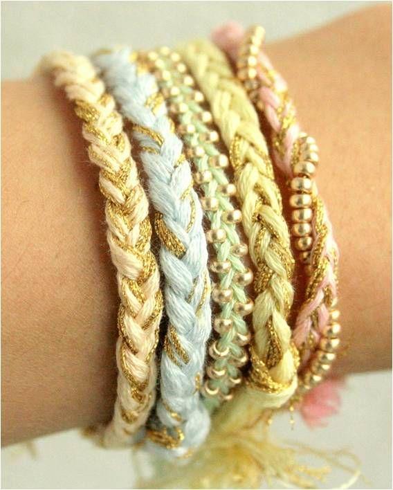 DIY - Pulseras trenzas doradas  DIY braided golden bracelets