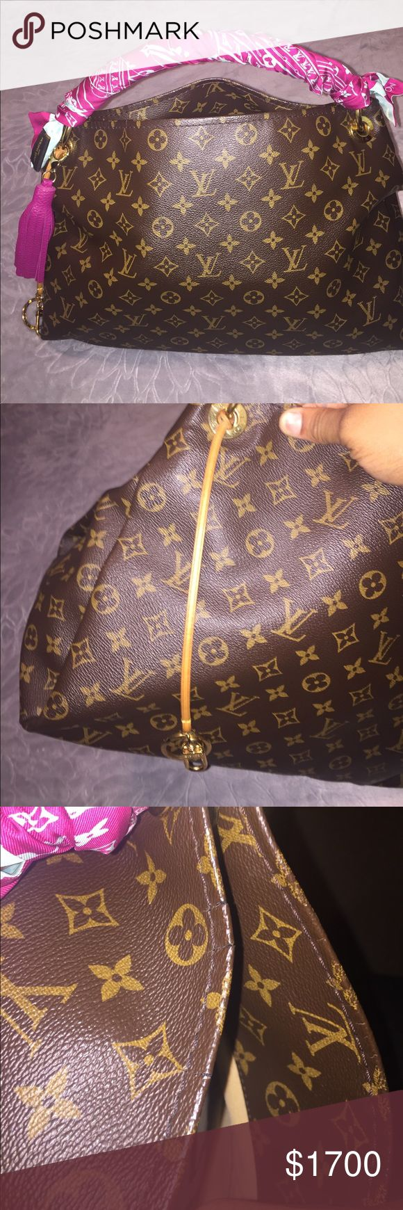 Authentic Louis Vuitton Artsy Handbag Monogram print hobo style, with vachetta handle and accent with gold hardware. Great condition, see pictures for flaws. Will ship with the authentic Louis Vuitton Bandeau shown in pictures and fuchsia leather tassel charm  ($220 value). Ask questions! Louis Vuitton Bags