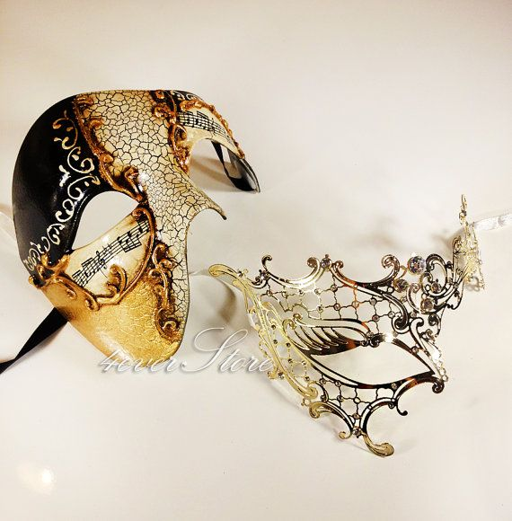 New! His & Hers Luxury Phantom Masquerade Masks [Gold Themed] - Bestselling Gold Half Mask and Laser Cut Masquerade Mask with Diamonds on Etsy, $49.95