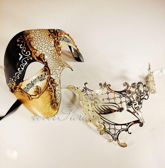 New!  Его & Ее роскошь Phantom маскарадные маски [Gold Тематические] - Кол-во продаж золота полумаски и лазерной резки маскарадные маски с бриллиантами