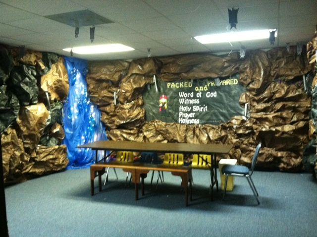 Sunday School room decorated as a cave.