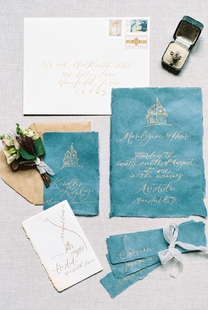 fairytale bridal shower invitation wording%0A An elegant Jeweltoned wedding invitations with gold calligraphy
