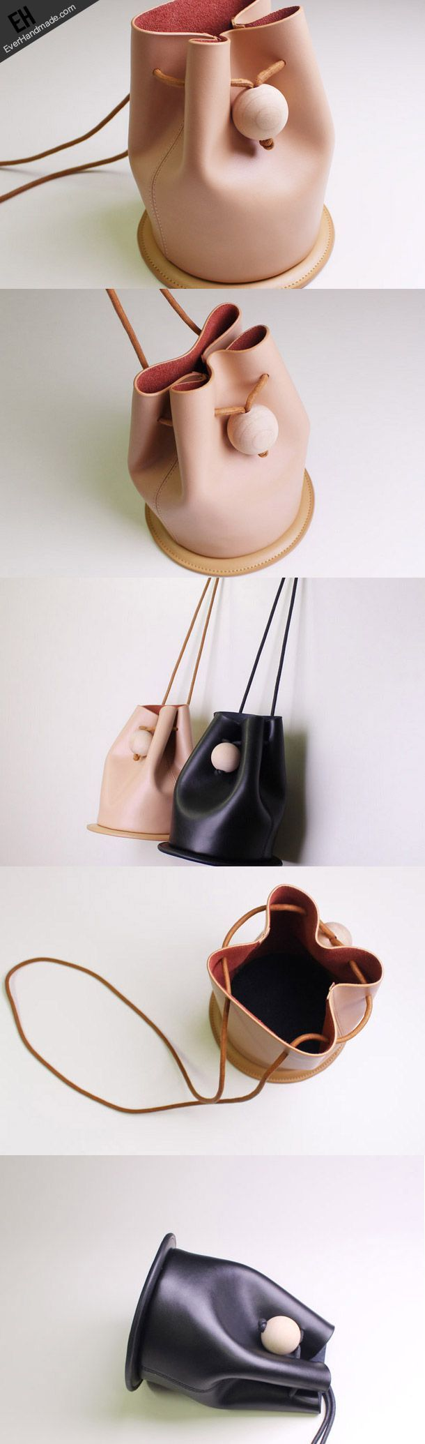 cool Handmade Leather bucket bag shoulder bag black beige for women leather crossbody...