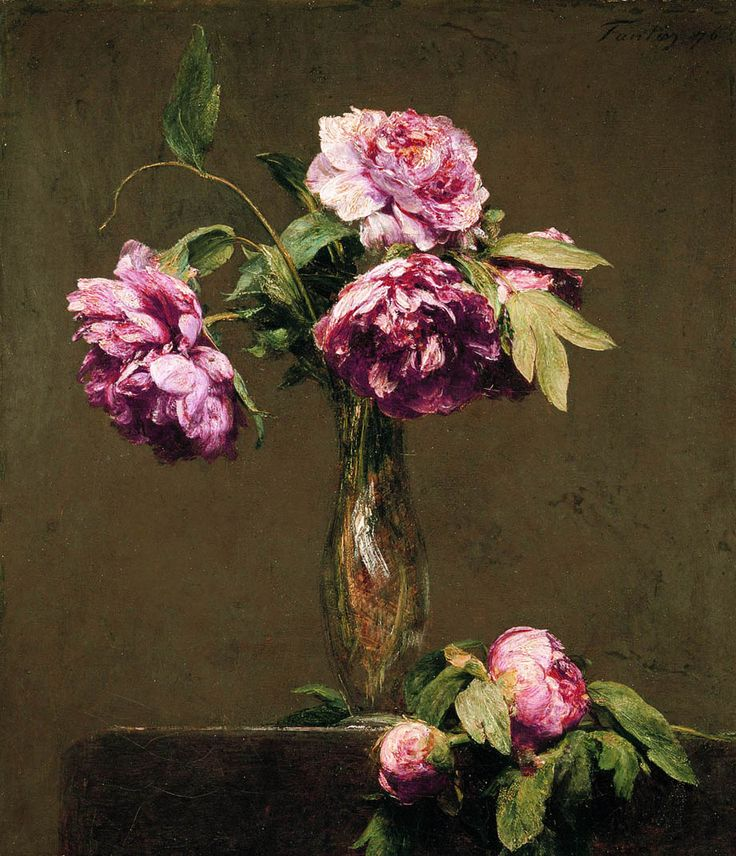madamedevereshideaway:    You don't bring me flowers anymore…  Peonies (oil on canvas ) by Henri Fantin-Latour 1876