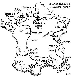 Planning my summer road trip to France .. Rick Steven's Itinerary offers some good ideas, this is a good map to follow.